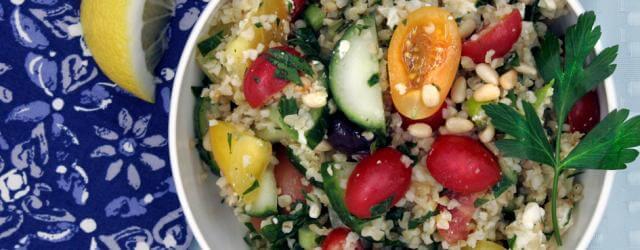 Salad in bowl gluten-free tabbouleh
