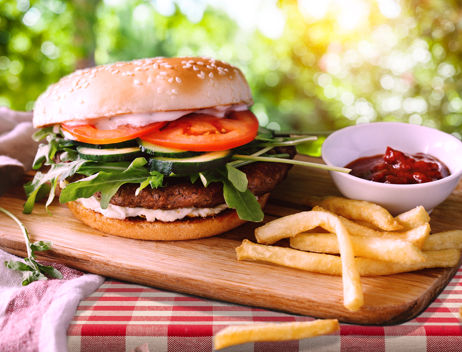 Burger with homemade healthy condiment recipes