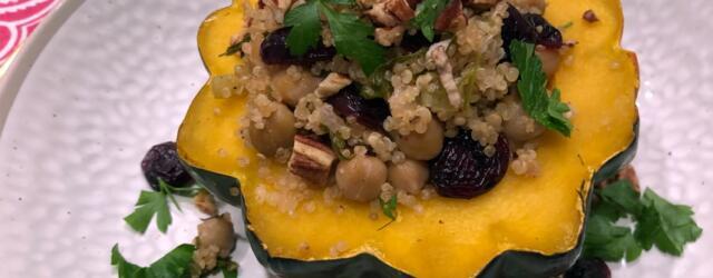 Stuffed Acorn Squash Easy Vegan Thanksgiving Entree
