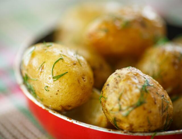 potatoes in bowl on table brown butter new potatoes recipe