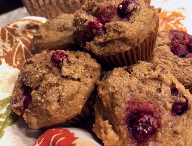 plate of spiced pumpkin muffins